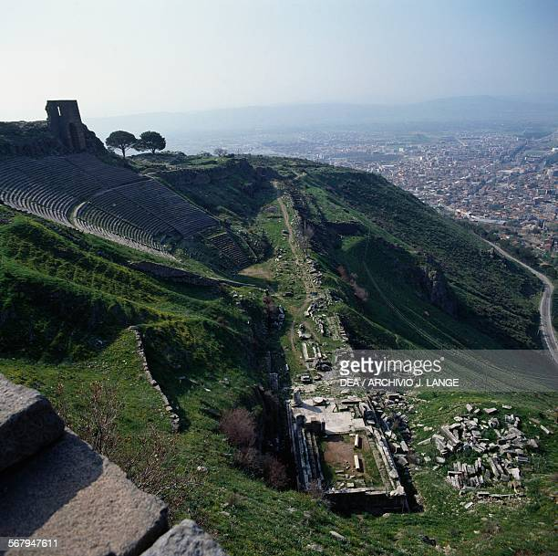 View of the Theatre, 3rd-2nd century, and the Temple of Dionysus, 2nd century BC , Pergamon , Turkey. Hellenistic and Roman civilisations, 3rd-2nd...