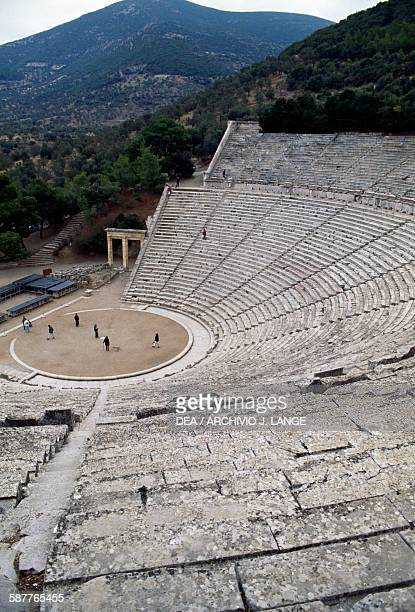 View of the theatre ca 360 BC by Polykleitos the Younger Epidaurus Peloponnese Greece Hellenistic civilisation 4th century BC