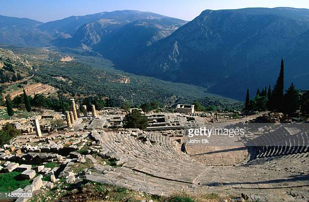 View of the theatre looking and valley at the 4th century B.C. Sanctuary of Apollo.