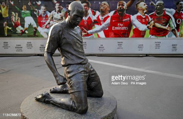 A view of the Thierry Henry statue outside the Emirates Stadium before the Premier League match between Arsenal and Newcastle United