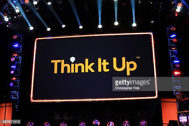 A view of the Think It Up logo onstage during the Think It Up education initiative telecast for teachers and students hosted by Entertainment...