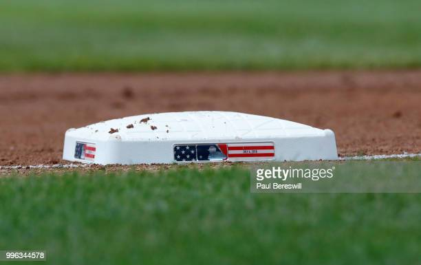 A view of the third base bag showing the fourth of July date during an interleague MLB baseball game between the Atlanta Braves and New York Yankees...