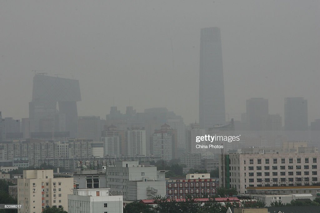 A view of the third-phase of Guomao, or China World Trade Center and the new CCTV headquarters is seen after thunderstorm on July 29, 2008 in Beijing, China. China has implemented new measures to control pollution ahead of the Olympic Games in Beijing.
