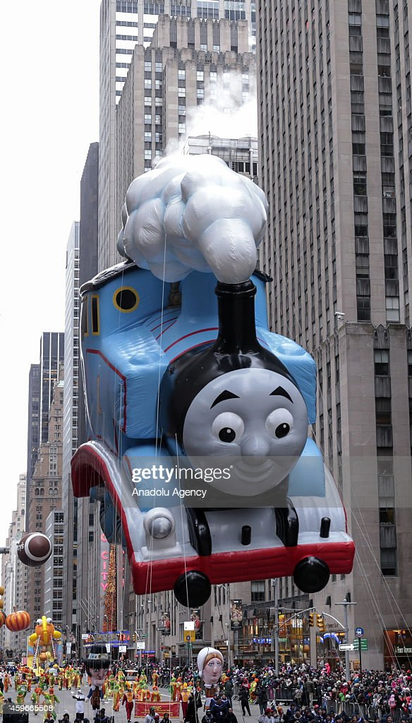 A view of the Thomas the Train balloon float during the 88th Annual Thanksgiving Day Parade on November 27, 2014 in New York, United States.