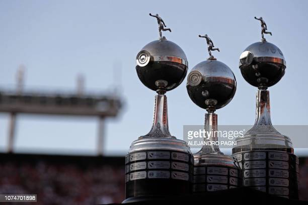 View of the three previous Copa Libertadores trophies obtained by River Plate in 1986 1996 and 2015 at the Monumental stadium in Buenos Aires on...