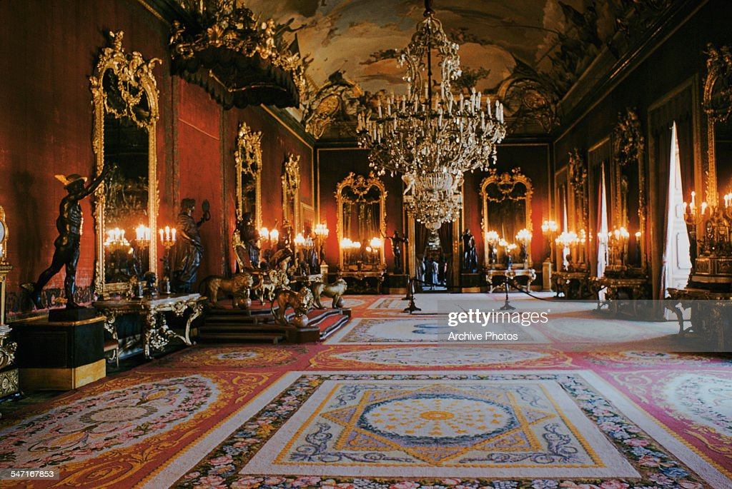 A view of the throne room within the Royal Palace of Madrid, Spain, July 1958.