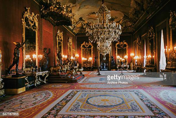 A view of the throne room within the Royal Palace of Madrid Spain July 1958