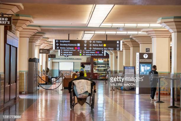 View of the ticketing area of the Union Station, downtown L.A. Where part of the Oscars Ceremony will take place Sunday, April 25, in Los Angeles,...