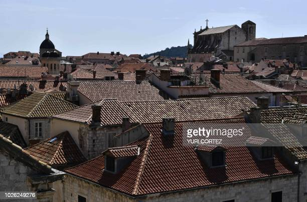 View of the tiled rooftops in the walled Old Town of Dubrovnik in Croatia taken on September 2 2018