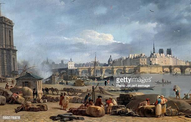 View of the tip of the Ile de la Cite from the Port St Nicolas in Paris Detail Painting by AlexandreJean Noel 1780 048 x 075 m Carnavalet Museum Paris