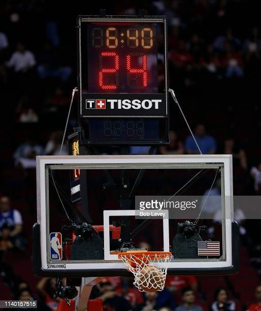 A view of the TISSOT 24 second shot clock at Toyota Center on March 28 2019 in Houston Texas NOTE TO USER User expressly acknowledges and agrees that...