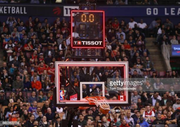 A view of the Tissot shot clock as DeMar DeRozan of the Toronto Raptors sinks a buzzer beater at the end of the second quarter against the Charlotte...