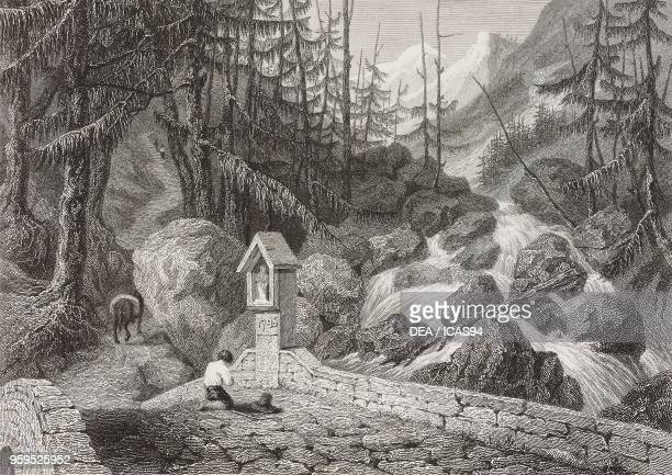 View of the Toce River near Foppiano Formazza Valley Italy engraving by James Tibbits Willmore after a drawing by William Brockedon from...