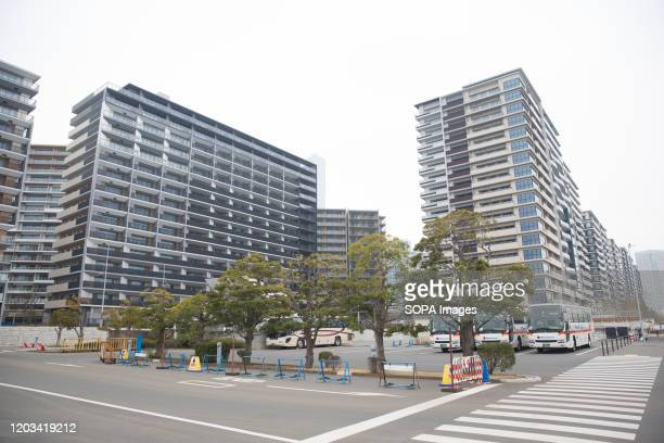 View of the Tokyo 2020 Olympic / Paralympic Village construction site buildings in Tokyo. After the events at the Diamond Princess Cruise Ship in...