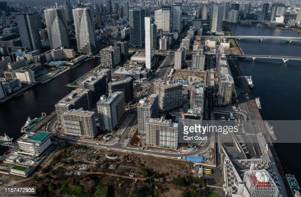 View of the Tokyo 2020 Olympics athlete's village being constructed on July 24, 2019 in Tokyo, Japan. Preparation is continuing on all venues as they...