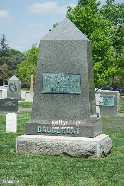 View of the tombstone for Colonel Abner Doubleday at Arlington National Cemetery Arlington Virginia April 20 2012