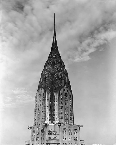 View of the top of the Chrysler Building, clad in steel,...
