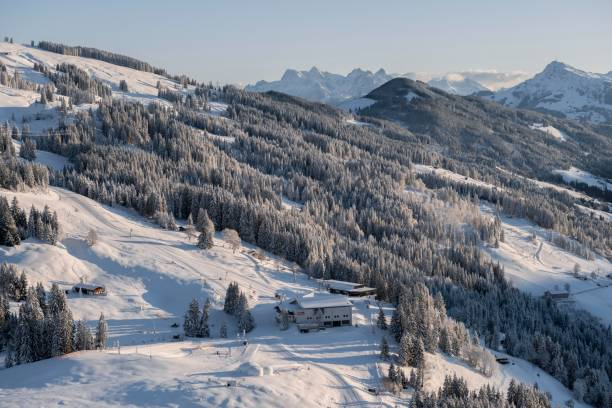 View of the top station of the cable car Brixen im Thale in winter, Skiwelt Wilder Kaiser Brixenthal, Hochbrixen, Brixen im Thale, Tyrol, Austria