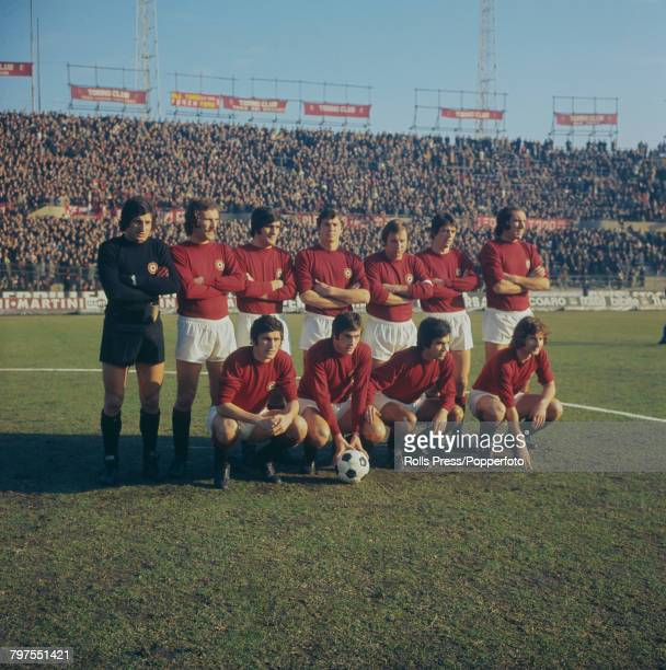 View of the Torino FC football team lined up on the pitch at the Stadio Comunale prior to a Serie A match in Turin Italy during the 197172 Italian...