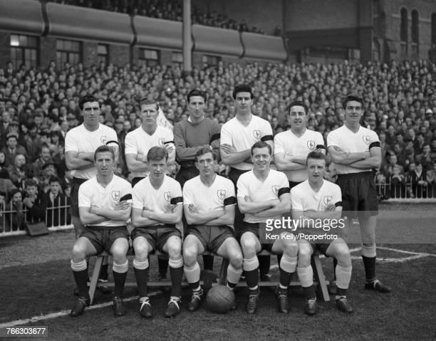 View of the Tottenham Hotspur FC team posed together prior to playing Aston Villa FC at Villa Park stadium in Aston Birmingham circa 1961 The team...