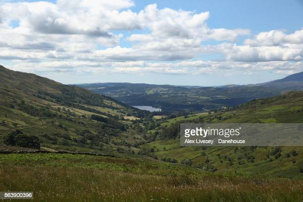View of the towards Lake Windermere is seen taken from the Kirkstone Pass on August 10, 2017 in the Lake District, England.