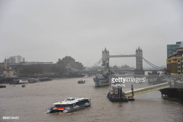 View of the Tower Bridge and HMS Belfast under a snow fall London on December 10 2017 According to the BBC the deepest snowfall in the UK has been in...