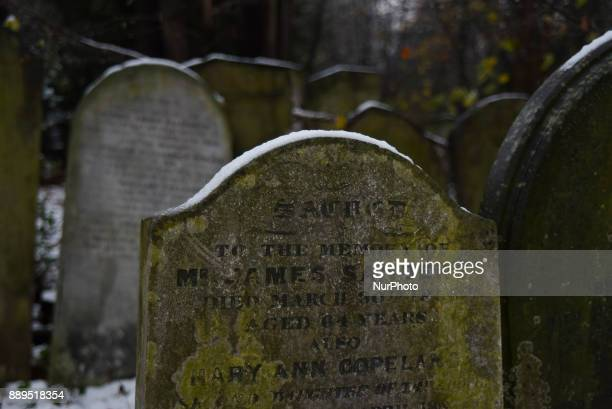 View of the Tower Hamlets cemetary park's graves under a snow fall London on December 10 2017 According to the BBC the deepest snowfall in the UK has...