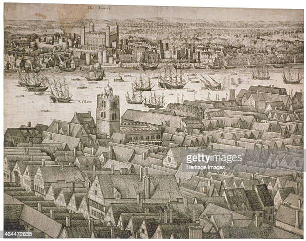 View of the Tower of London from the south with boats on the River Thames 1647