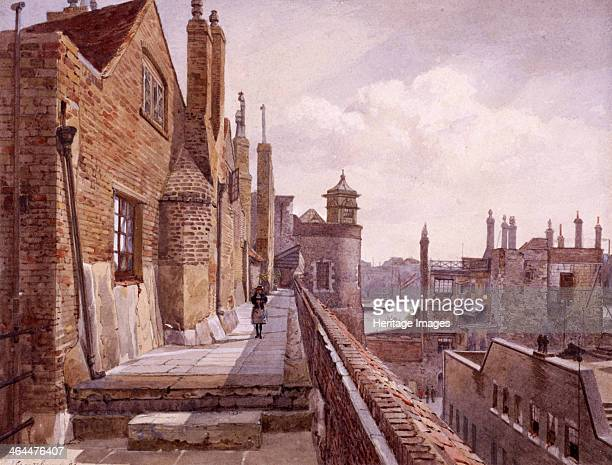 View of the Tower of London Tower Hamlets London 1833 showing a figure walking on Prisoners' Walk between Beauchamp Tower and Bell Tower