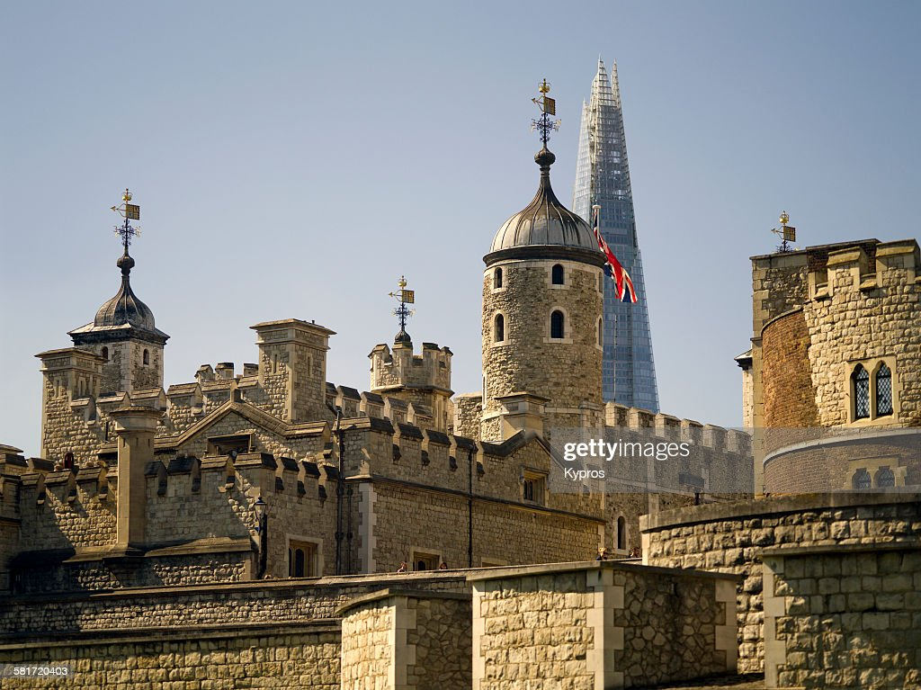 A view of the Tower of London with the top of The Shard behind it, London, 10th September 2015.