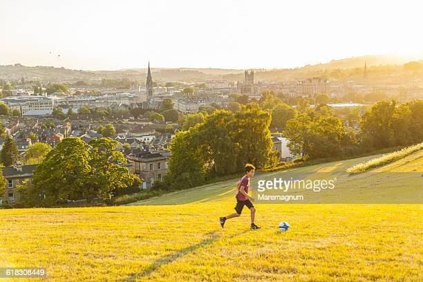 view of the town from bathwick meadow - bath england stock pictures, royalty-free photos & images