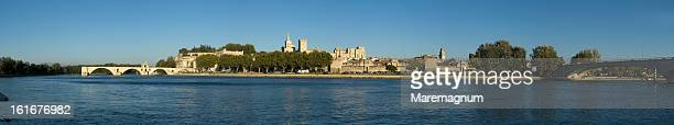 view of the town from rhone river promenade - rhone stock pictures, royalty-free photos & images