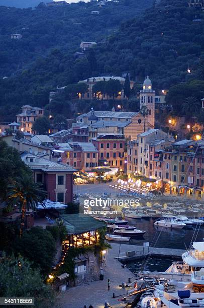 view of the town from san giorgio church - portofino stock pictures, royalty-free photos & images