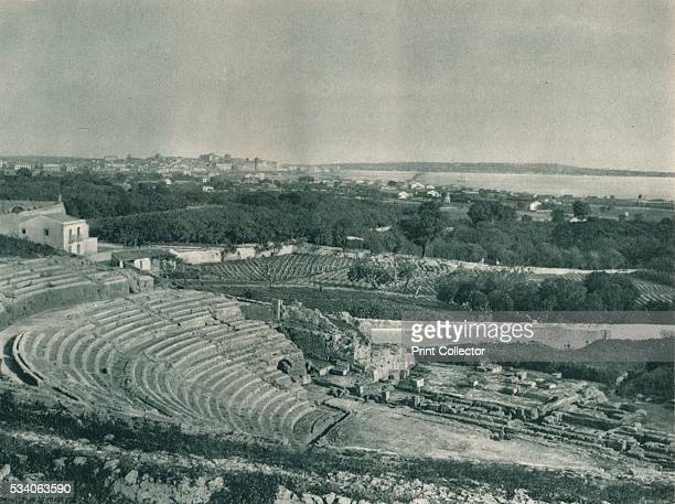 View of the town from the Greek Theatre Syracuse Sicily Italy' from 'Italien in Bildern' by Eugen Poppel 1927 The Greek Theatre of Syracuse was built...