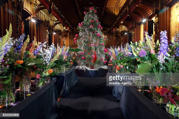 A view of the Town Hall decorated with flowers at Grand Place during Flowertime Festival in Brussels Belgium on August 11 2017