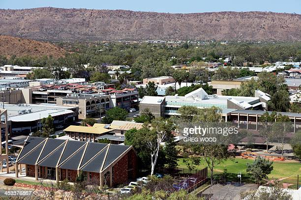 A view of the town of Alice Springs in Australia's Northern Territory state popularly known as the Alice and straddling the usually dry Todd River on...