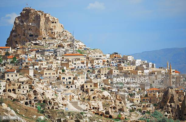 Cappadocia, Turkey - May 02, 2014: View of the town of Goreme located on the ancient tuff rock formations