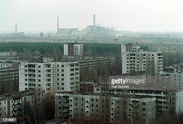 A view of the town of Pripyat and the Chernobyl Fourth Reactor Chernobyl the site of the world''s worst nuclear disaster was closed down for good...