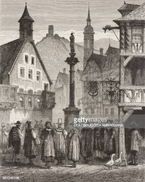 View of the town of Simonswald Germany drawing from real life by Francois Stroobant from The Black Forest by Alfred Michiels from Il Giro del mondo...