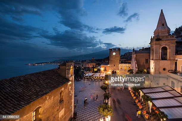 view of the town - taormina stock pictures, royalty-free photos & images