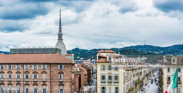 View of the town with some buildings of Piazza Castello, La Mole Antonelliana on the background