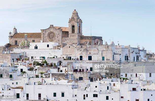 view of the town with the cathedral, ostuni, apulia, italy - ostuni stock photos and pictures