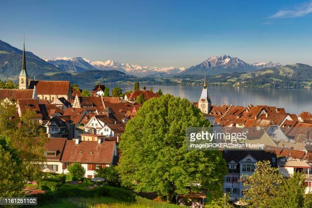 View of the town with Zytturm tower and church, old town with Lake Zug, Pilatus at the back, Zug, Canton Zug, Switzerland