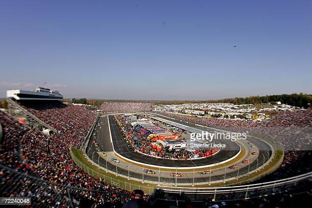 A view of the track during caution laps during the NASCAR Nextel Cup Series Subway 500 on October 22 2006 at Martinsville Speedway in Martinsville...