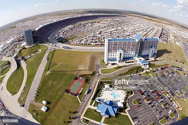 A view of the track during the NASCAR Sprint Cup Series Dickies 500 at Texas Motor Speedway on November 2 2008 in Fort Worth Texas