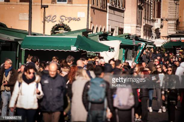 View of the traditional Christmas market in Piazza Navona, Rome, on 28 December 2019, after the city police seized the demonstration on 12 December...
