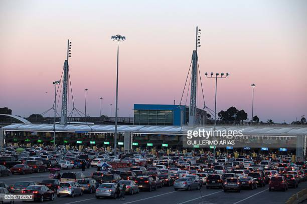 View of the traffic at San Ysidro bridge border line between Mexico and the US in Tijuana northwestern Mexico on January 25 2017 US President Donald...