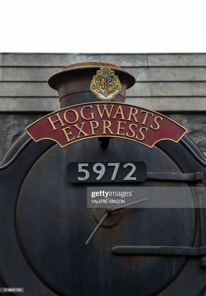 View of the train in Hogsmeade at the Grand Opening to the public of the 'Wizarding World of Harry Potter' at Universal Studios Hollywood, in Universal City, California, on April 7, 2016. Fifteen years after Harry Potter's first big screen adventure, Universal is enchanting a new generation of Muggles with its most spectacular conjuring trick yet -- a theme park in the heart of Hollywood. / AFP / VALERIE