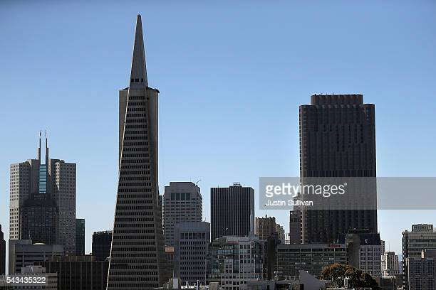 A view of the Transamerica Pyramid and 555 California on June 28 2016 in San Francisco California A new video that allegedly supports ISIL has...