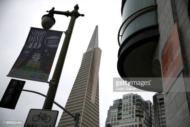 View of the Transamerica Pyramid building on August 19, 2019 in San Francisco, California. San Francisco's iconic Transamerica Pyramid building is up...